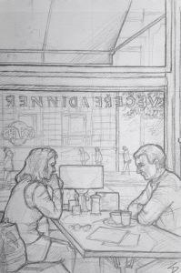 Quick Sketch. 'Národní Kavárna, Prague.' A cafe and restaurant with over a century of history. It's classically decorated with chandeliers and b&w photos. Great window seat alcoves. @davidasutton @sketchbookexplorer Facebook.com/davidanthonysutton #drawing #sketch #prague #travel #travelblog #národníkavárna