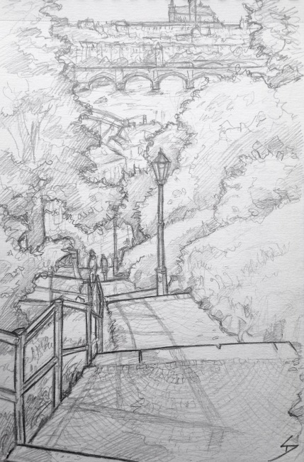 Quick Sketch. 'Stairway to Vysehrad Castle, Prague.' One of the many routes up to Vysehrad Castle - beautiful under a summer's sun. Great view across the Vltava River of Prague Castle. @davidasutton @sketchbookexplorer Facebook.com/davidanthonysutton #drawing #sketch #prague #travel #travelblog #vysehradcastle