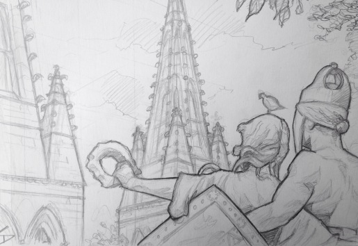 Quick Sketch. 'Vysehrad Castle, Prague.' View from one of the park areas of the 10th century castle. A great sculpture of a Slavic warrior couple looking upon the spires of the Basilica of St Peter and Paul. The castle's grounds hold the oldest buildings in prague, such as the Church of the Virgin Mary 870. It was once a rival for the seat of Czech sovereign power with Prague Castle. The castle's cemetery is home to the graves of famous Czechs, including Antonin Dvorak, Bedrich Smetana and Alphonse Mucha. @davidasutton @sketchbookexplorer Facebook.com/davidanthonysutton #drawing #sketch #prague #travel #travelblog #vysehradcastle