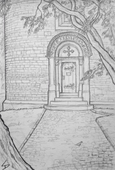 Quick Sketch. 'Rotunda of St Martin, Vysehrad Castle, Prague.' This rotunda is one of Prague's oldest buildings, dating from the 11th century. It sits in the tranquil grounds of Vysehrad Castle. @davidasutton @sketchbookexplorer Facebook.com/davidanthonysutton #drawing #sketch #prague #travel #travelblog #vysehradcastle