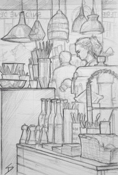 Quick Sketch. 'Kare Cafe, Prague.' An artistic decor store and cafe. Sip, snack and shop, all to the sound of electro jazz. @davidasutton @sketchbookexplorer Facebook.com/davidanthonysutton #drawing #sketch #prague #travel #travelblog #karecafe