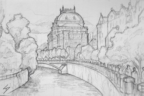 Quick Sketch. 'Manes Art Cafe, Prague.' The cafe has a great view of Prague National Theatre. Find it next to the Manes Gallery. @davidasutton @sketchbookexplorer Facebook.com/davidanthonysutton #drawing #sketch #prague #travel #travelblog #manesartcafe