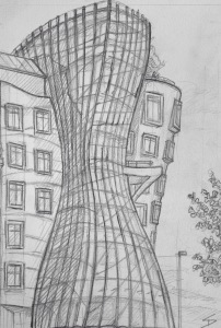 Quick Sketch. 'Dancing House, Prague.' Also known as Fred and Ginger. There is a restaurant on the seventh floor, with stunning views of Prague. This is the view from the Potrefena Husa bar and restaurant. The Dancing House was built on the site of a house destroyed in 1945, when American bombers apparently mistook Prague for Dresden, due to radar malfunctions - 152 tons of bombs were dropped on Prague, killing 701. @davidasutton @sketchbookexplorer Facebook.com/davidanthonysutton #drawing #sketch #prague #travel #travelblog #dancinghouseprague