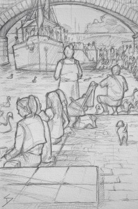 Quick Sketch 2. 'Naplavka, Prague.' Prague's waterfront. When it's sunny, this place is packed, during the day and after dark. Come join the partygoers, dog walkers, joggers and cyclists. @davidasutton @sketchbookexplorer Facebook.com/davidanthonysutton #drawing #sketch #prague #travel #travelblog #naplavka