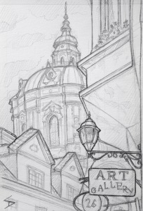 Quick Sketch. 'Karmelitska, Mala Strana, Prague.' Towered over by St Nicholas church, this area is a wonder of architecture. View from the U Svateho Vaclava restaurant. @davidasutton @sketchbookexplorer Facebook.com/davidanthonysutton #drawing #sketch #prague #travel #travelblog #malastrana
