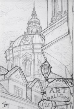 Quick Sketch. 'Karmelitska, Mala Strana, Prague.' Towered over by St Nicholas church, this area is a wonder of architecture. View from the U Svateho Vaclava restaurant. @davidasutton @sketchbookexplorer Facebook.com/davidanthonysutton #drawing #sketch #prague #travel #travelblog #malastrana
