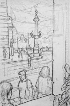 Quick Sketch 2. 'Slavia Kavarna, Prague.' Great view from a window seat in Cafe Slavia. Sketched to the sound of a grand piano, as the sun set. @davidasutton @sketchbookexplorer Facebook.com/davidanthonysutton #drawing #sketch #prague #travel #travelblog #slaviakavarna