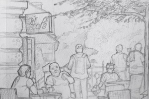 Quick Sketch. 'Bella Vida Cafe, Prague.' Enjoy an amazing view of the city, while people watching, at this riverside cafe. Try some of their homemade lemonades. @davidasutton @sketchbookexplorer Facebook.com/davidanthonysutton #drawing #sketch #prague #travel #travelblog #bellavidacafe