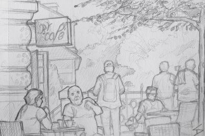 Quick Sketch. 'Bella Vida Cafe, Prague.' Enjoy an amazing view of the city, while people watching, at this riverside cafe. Try some of their homemade lemonades. @davidasutton @sketchbookexplorer Facebook.com/davidanthonysutton #drawing #sketch #prague #travel #travelblog #bellavidacafe
