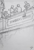Quick Sketch. 'Starbucks, Ke Hradu, Prague.' Cafe with great views of the city. It's a beacon for selfies, risking a long drop for a Facebook post. @davidasutton @sketchbookexplorer Facebook.com/davidanthonysutton #drawing #sketch #prague #travel #travelblog #starbucks
