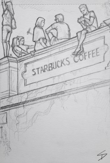 Quick Sketch. 'Starbucks, Ke Hradu, Prague.' Cafe with great views of the city. It's a beacon for selfies, risking a long drop for a Facebook post. @davidasutton @sketchbookexplorer Facebook.com/davidanthonysutton #drawing #sketch #prague #travel #travelblog #starbucks