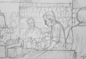 Quick Sketch. 'Hemingway Bar, Prague.' A cocktail bar inspired by Ernest Hemingway. Sketched while drinking one of the author's favourite tipples - a Hemingway Daiquiri. All to the sound of Electro Swing. With vaulted ceilings and candlelit character, this place is worth a visit. @davidasutton @sketchbookexplorer Facebook.com/davidanthonysutton #drawing #sketch #prague #travel #travelblog #hemingwaybarprague