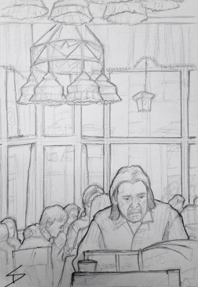 Quick Sketch. 'Grand Cafe Orient, Prague.' An elegant Art Deco cafe and restaurant, within a short walk from the Obecni Dum and the Powder Tower. Sketched to classics played on a grand piano. @davidasutton @sketchbookexplorer Facebook.com/davidanthonysutton #drawing #sketch #prague #travel #travelblog #grandcafeorient