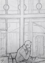 Quick Sketch. 'Cafe Archa Barista, Prague.' A classy Rondocubist cafe. It sits inside the wonderful Legiobank building, designed by Czech architect Josef Gocar. @davidasutton @sketchbookexplorer Facebook.com/davidanthonysutton #drawing #sketch #prague #travel #travelblog #cafearchabarista