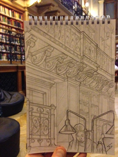 Founded in 1561, The ELTE University Library was originally a Jesuit library. In 1784 it moved to its current location. Even before you step into the main reading room, with its skylight and frescoes, you are welcomed by a stunning interior. sketchbookexplorer.com @davidasutton @sketchbookexplorer Facebook.com/davidanthonysutton #drawing #sketch #budapest #hungary #travel #travelblog #library #hungarytourism #elteuniversitylibrary