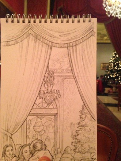 Cafe Gerbeaud, located on Vorosmarty ter, exudes the elegance of late 19th century European coffeehouses and confectioneries, with its saloon's high ceiling, illuminated by grand chandeliers. sketchbookexplorer.com @davidasutton @sketchbookexplorer Facebook.com/davidanthonysutton #drawing #sketch #budapest #hungary #travel #travelblog #cafe #hungarytourism #cafegerbeaud