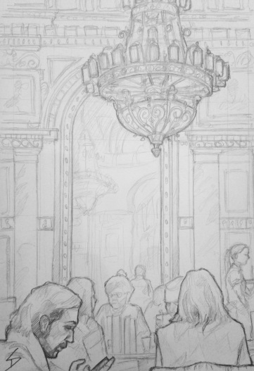 As bookshop cafes go, this marvel will take some beating in the grandeur category. It can be found inside the former Paris Department Store (Budapest's first department store, and now the Alexandra Bookstore), an Art Nouveau wonder on its own. sketchbookexplorer.com @davidasutton @sketchbookexplorer Facebook.com/davidanthonysutton #drawing #sketch #budapest #hungary #travel #travelblog #cafe #bookstore #hungarytourism #bookcafeprague