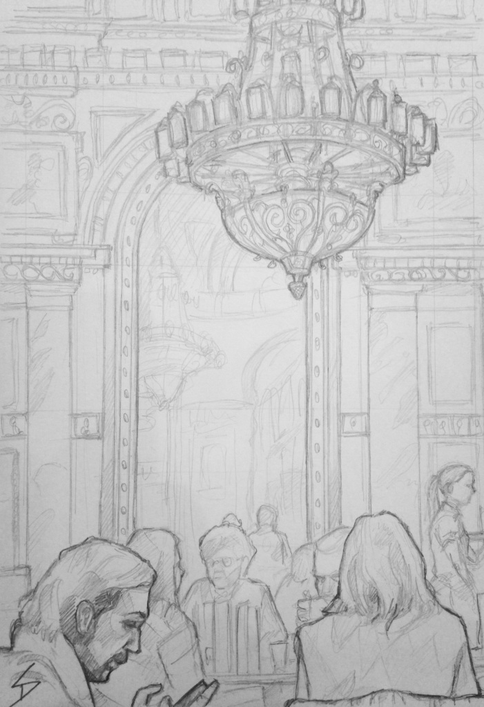 Budapest - a winter's dream - Quick Sketch. 'Bookcafe, Budapest, Hungary.'