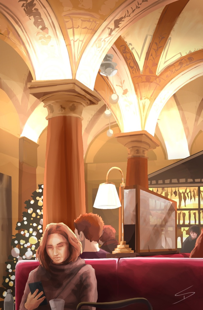 Budapest - a winter's dream - iPad painting. 'Opera Cafe, Budapest, Hungary.'