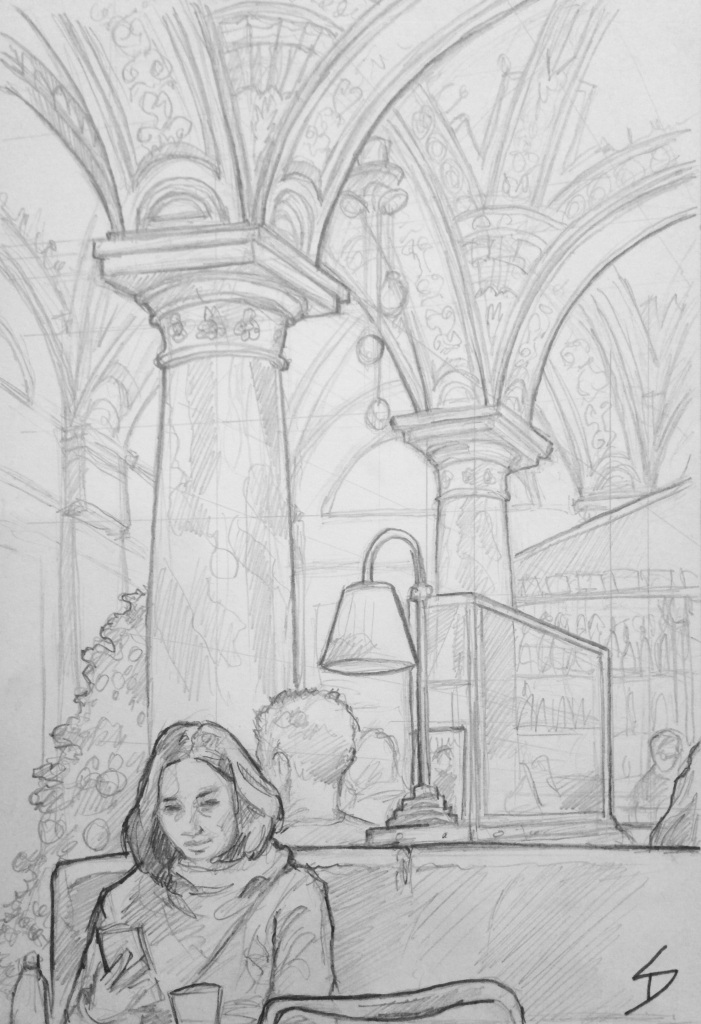Budapest - a winter's dream - Quick Sketch. 'Opera Cafe, Budapest, Hungary.'