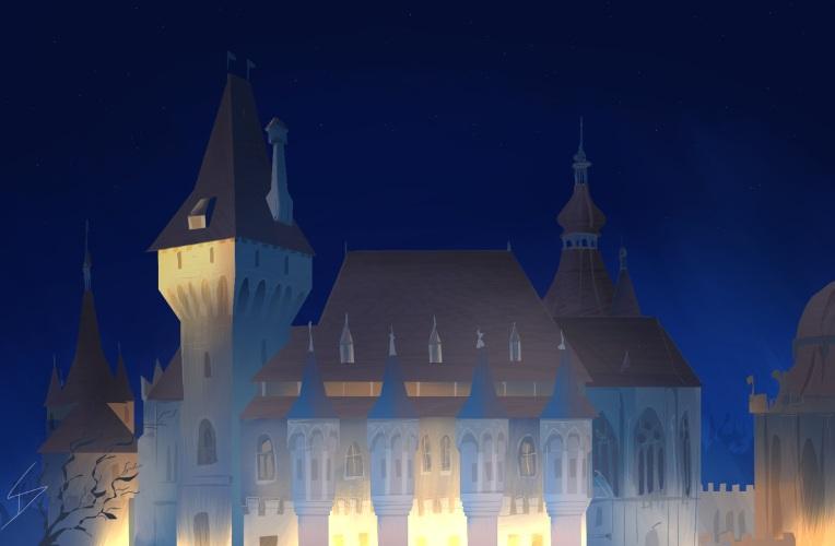 Budapest - a winter's dream - iPad painting. 'Vajdahunyad Castle, Budapest, Hungary.'