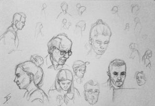 Snapshot sketches of my fellow cafe goers. sketchbookexplorer.com @davidasutton @sketchbookexplorer Facebook.com/davidanthonysutton #drawing #sketch #Prague #travel #travelblog #cafe #costacoffee #costacoffeevaclavskenamesti