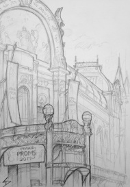 Quick Sketch. 'Obecni Dum, Prague.' Also known as the Municipal House, this is a truly stunning building / concert hall / ballroom / restaurant and cafe. @davidasutton @sketchbookexplorer Facebook.com/davidanthonysutton #drawing #sketch #prague #travel #travelblog #obecnidum
