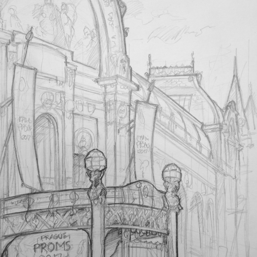 Quick Sketch. 'Obecni Dum, Prague.' Also known as the Municipal House, this is a truly stunning building / concert hall / ballroom / restaurant and cafe. @davidasutton @sketchbookexplorer Facebook.com/davidanthonysutton #drawing #sketch #prague #travel #travelblog #obecnidum
