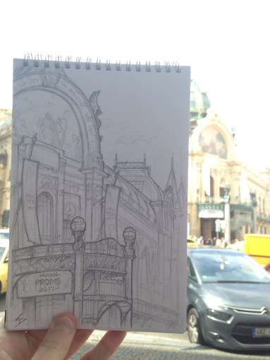 A concert hall sketch. sketchbookexplorer.com @davidasutton @sketchbookexplorer Facebook.com/davidanthonysutton #drawing #sketch #Prague #travel #travelblog #cafe #concerthall #obecnidum