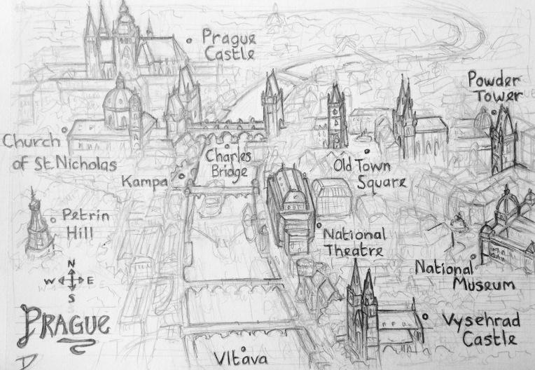Map of Prague. sketchbookexplorer.com