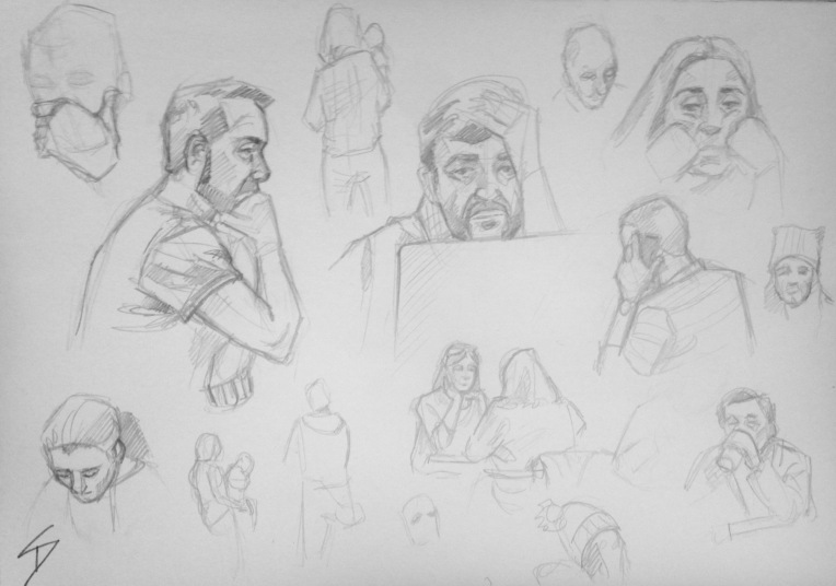 Quick Sketch 2. 'Cafe Nona, Prague.' Cafe goers sheltering from the cold in  Prague's Brutalist new National Theatre. sketchbookexplorer.com @davidasutton @sketchbookexplorer Facebook.com/davidanthonysutt