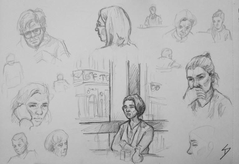 Quick Sketch 3. 'Cafe Nona, Prague.' Relaxing Tuesday afternoon in a cafe in central Prague. sketchbookexplorer.com @davidasutton @sketchbookexplorer Facebook.com/davidanthonysutton #drawing #sketch #prague #travel #travelblog #cafenona