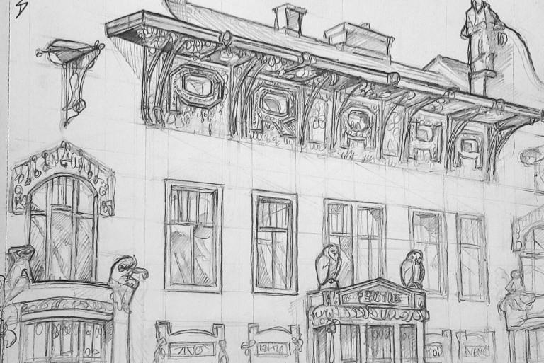 Architectural Art - Prague. 'Viola Divaldo, Prague.' Sketched from Cafe Nona. sketchbookexplorer.com @davidasutton @sketchbookexplorer Facebook.com/davidanthonysutton #drawing #sketch #prague #travel #travelblog #cafenona #violadivaldo