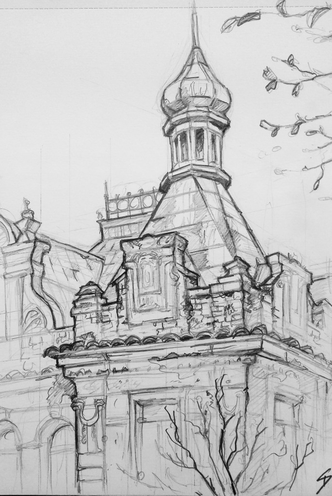 Architectural Art - Prague. 'Vysehrad train station, Prague.' This abandoned station has lots of derelict charm. sketchbookexplorer.com @davidasutton @sketchbookexplorer Facebook.com/davidanthonysutton #drawing #sketch #prague #travel #travelblog #vysehrad
