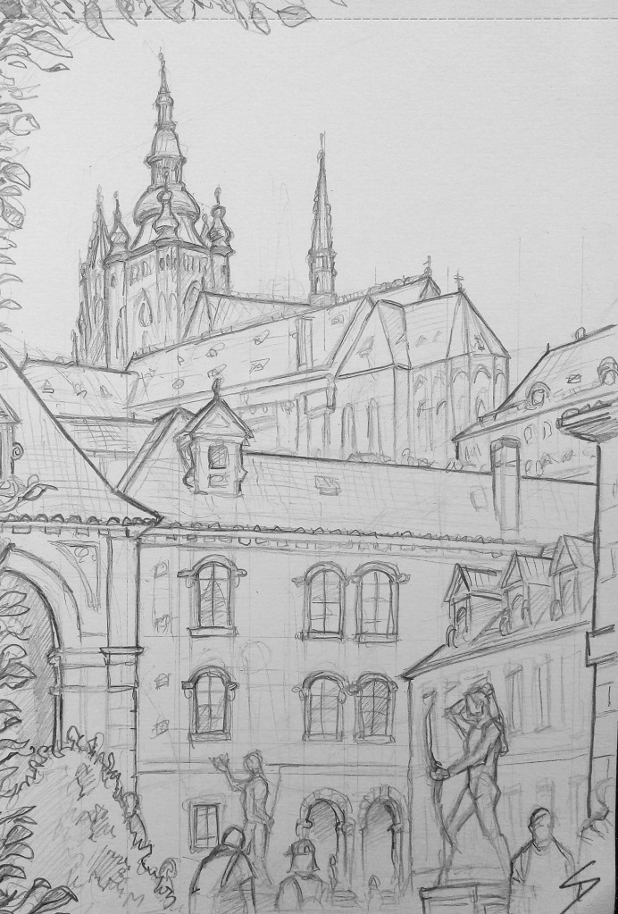 Architectural Art - Prague. 'Waldstein Gardens, Prague.' View of Prague Castle from inside the Czech Senate gardens. sketchbookexplorer.com @davidasutton @sketchbookexplorer Facebook.com/davidanthonysutton #drawing #sketch #prague #travel #travelblog #waldsteingardens
