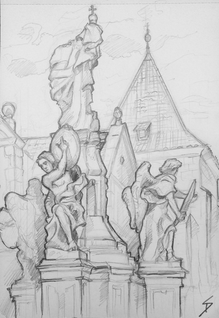Architectural Art - Prague. 'Maltezke Namesti, Prague.' View from beautiful Mala Strana. sketchbookexplorer.com @davidasutton @sketchbookexplorer Facebook.com/davidanthonysutton #drawing #sketch #prague #travel #travelblog #maltezkenamesti