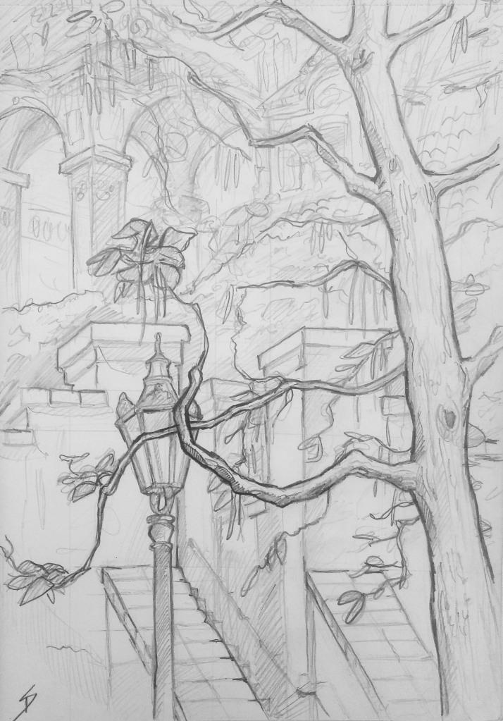 Architectural Art - Prague. 'Zahrady Pod Prazskym Hradem, Prague.' The entrance to the gardens at the foot of Prague Castle. sketchbookexplorer.com @davidasutton @sketchbookexplorer Facebook.com/davidanthonysutton #drawing #sketch #prague #travel #travelblog #zahradypodprazkymhradem