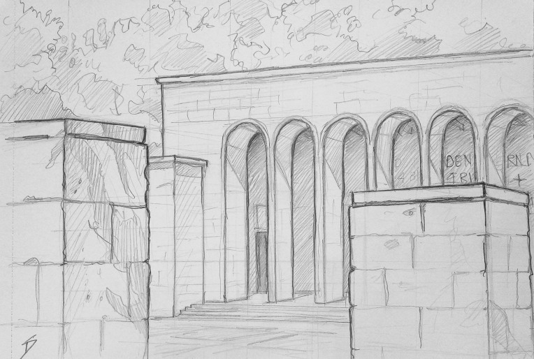 Architectural Art - Nuremberg. 'Ehrenhalle, Nuremberg, Germany.' The Hall of Honour war memorial. Misappropriated by Hitler during the Nuremberg Nazi rallies 1933-1938. Now once again, it lays in a peaceful park. sketchbookexplorer.com @davidasutton @sketchbookexplorer Facebook.com/davidanthonysutton #drawing #sketch #nuremberg #travel #travelblog #ehrenhalle