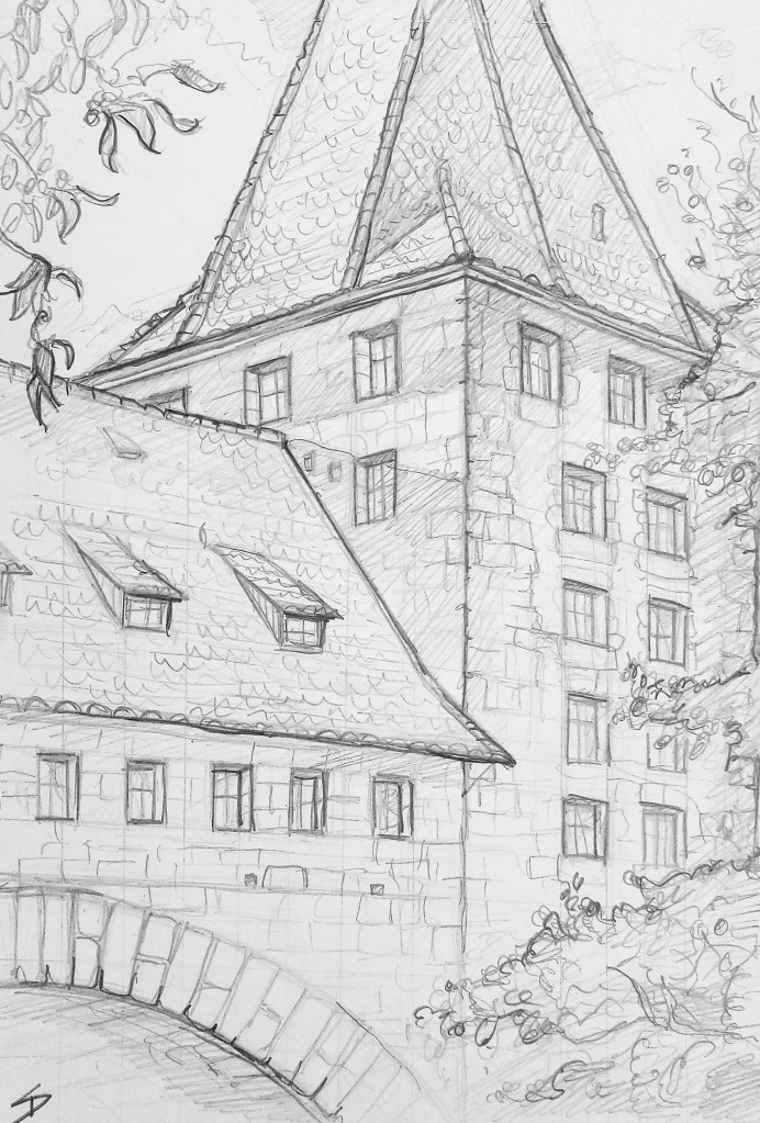 Architectural Art - Nuremberg. 'Schlayerturm Tower, Nuremberg, Germany.' An evening sketch of the Schlayerturm Tower. In good company with this one, previous artist who sketched this was a local boy... by the name of Albrecht Dürer. sketchbookexplorer.com @davidasutton @sketchbookexplorer Facebook.com/davidanthonysutton #drawing #sketch #nuremberg #travel #travelblog #Schlayerturmtower