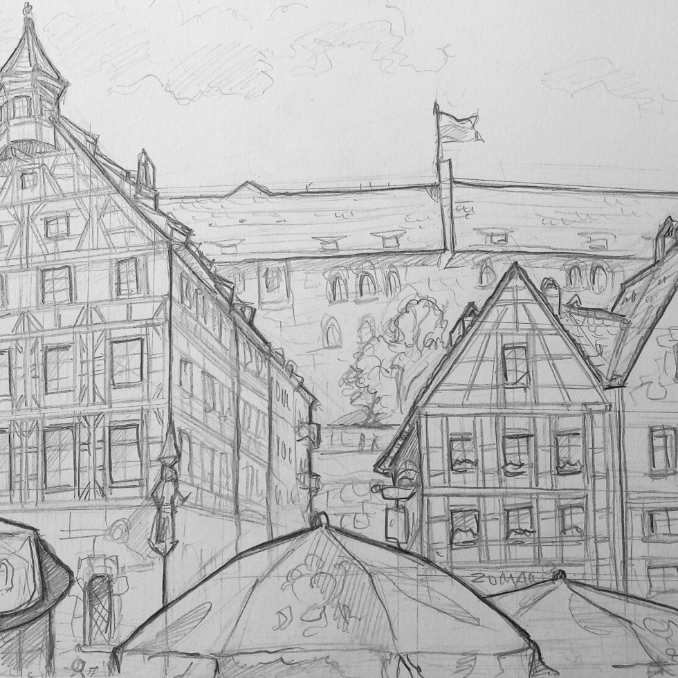 Architectural Art - Nuremberg. 'Beim Tiergärtnertor, Nuremberg, Germany.' Great view from a traditional restaurant of Beim Tiergärtnertor and Nuremberg Castle. sketchbookexplorer.com @davidasutton @sketchbookexplorer Facebook.com/davidanthonysutton #drawing #sketch #nuremberg #travel #travelblog #Beimtiergärtnertor