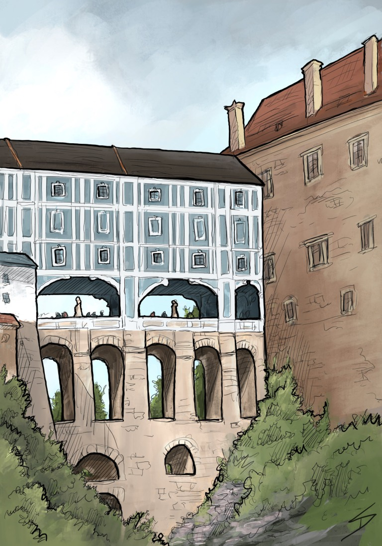 IPad sketch. Landscape Art - Český Krumlov, Czech Republic. 'Plastovy most.' A view of Cesky Krumlov Castle's covered bridge. The 13th century castle, and the rest of the town are on the UNESCO World Heritage List. sketchbookexplorer.com @davidasutton @sketchbookexplorer Facebook.com/davidanthonysutton #drawing #sketch #ceskykrumlov #travel #travelblog #ceskykrumlovcastle