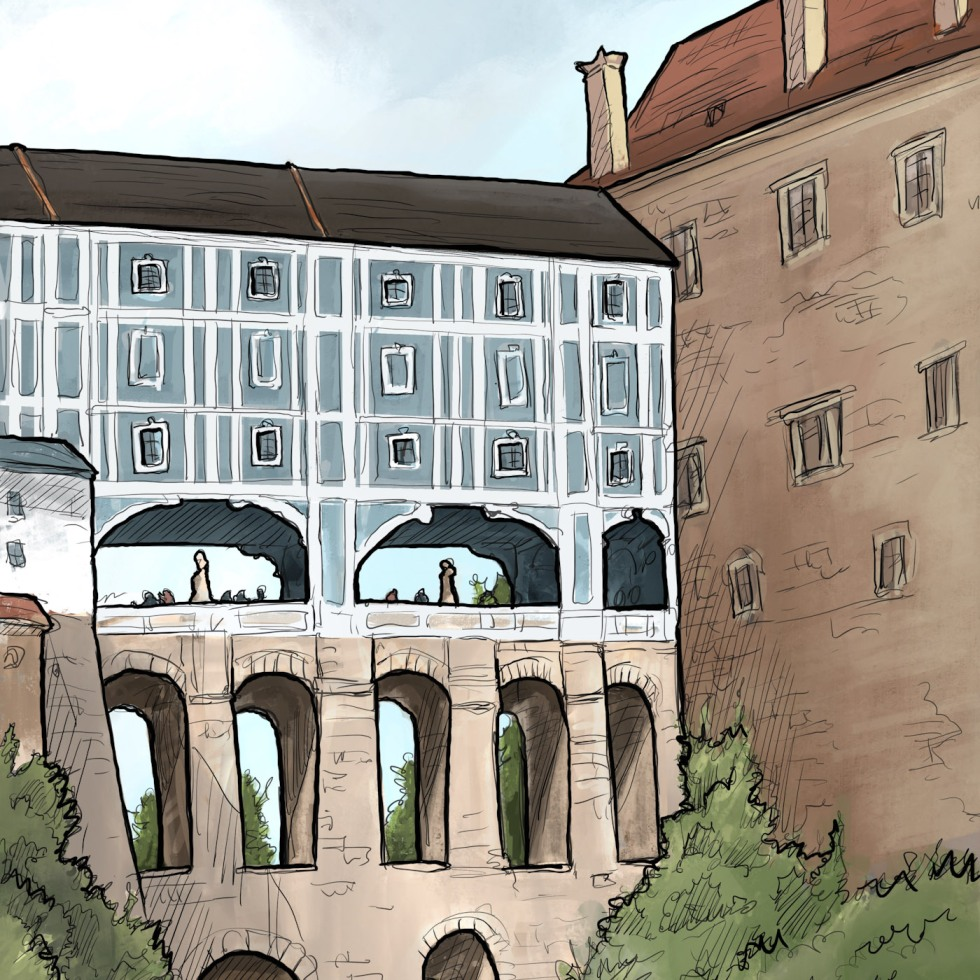 IPad sketch. Landscape Art - Český Krumlov, Czech Republic. 'Plastovy most.' A view of Cesky Krumlov Castle's covered bridge. The 13th century castle, and the rest of the town are on the UNESCO World Heritage List. sketchbookexplorer.com @davidasutton @sketchbookexplorer Facebook.com/davidanthonysutton #drawing #sketch #ceskykrumlov #travel #travelblog #ceskykrumlovcastle