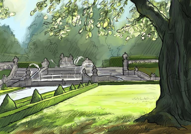 IPad sketch. Landscape Art - Český Krumlov, Czech Republic. 'Kaskádová fontána.' The gardens at the back of Cesky Krumlov castle. sketchbookexplorer.com @davidasutton @sketchbookexplorer Facebook.com/davidanthonysutton #drawing #sketch #ceskykrumlov #travel #travelblog #ceskykrumlovcastle