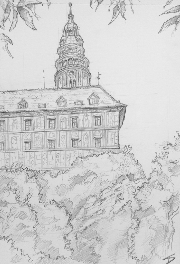 Landscape Art - Český Krumlov, Czech Republic. 'Český Krumlov Castle.' A view of this Czech wonder, built in 1240. sketchbookexplorer.com @davidasutton @sketchbookexplorer Facebook.com/davidanthonysutton #drawing #sketch #ceskykrumlov #travel #travelblog #ceskykrumlovcastle