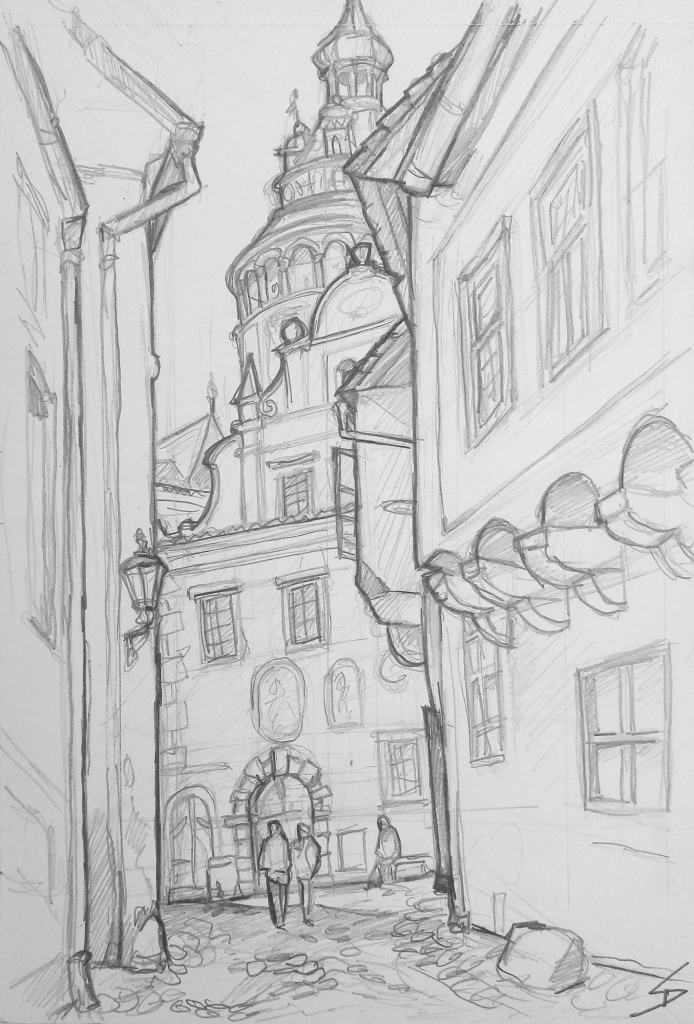 Landscape Art - Český Krumlov, Czech Republic. 'Nove Mesto.' The Bohemian fairytale streets of Nove Mesto. sketchbookexplorer.com @davidasutton @sketchbookexplorer Facebook.com/davidanthonysutton #drawing #sketch #ceskykrumlov #travel #travelblog #ceskykrumlovnovemesto