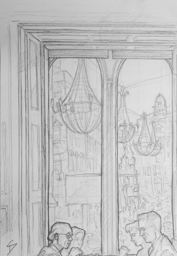 Urban Art - Vienna, Austria. 'Julius Meinl cafe.' View from Meinl cafe. Christmas lights are already up. Vienna, where the chandeliers are so big they are hung outside. sketchbookexplorer.com @davidasutton @sketchbookexplorer Facebook.com/davidanthonysutton #drawing #sketch #vienna #travel #travelblog #juliusmeinl