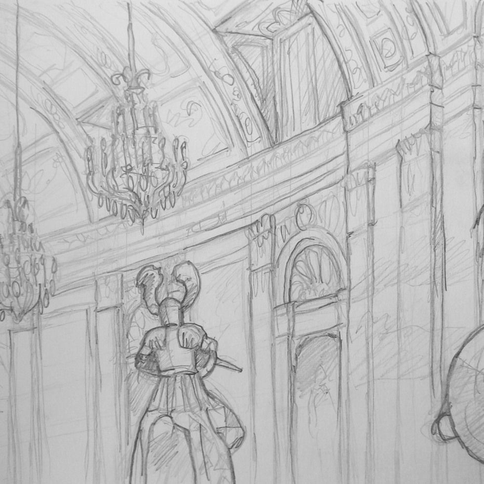 Urban Art - Vienna, Austria. 'Hofjagd und Rüstkammer Imperial Armoury.' Sketching in the Imperial Armoury... Beautiful interior. Almost closing time.. just me and a few medieval knights. sketchbookexplorer.com @davidasutton @sketchbookexplorer Facebook.com/davidanthonysutton #drawing #sketch #vienna #travel #travelblog #hofjagdundrustkammer