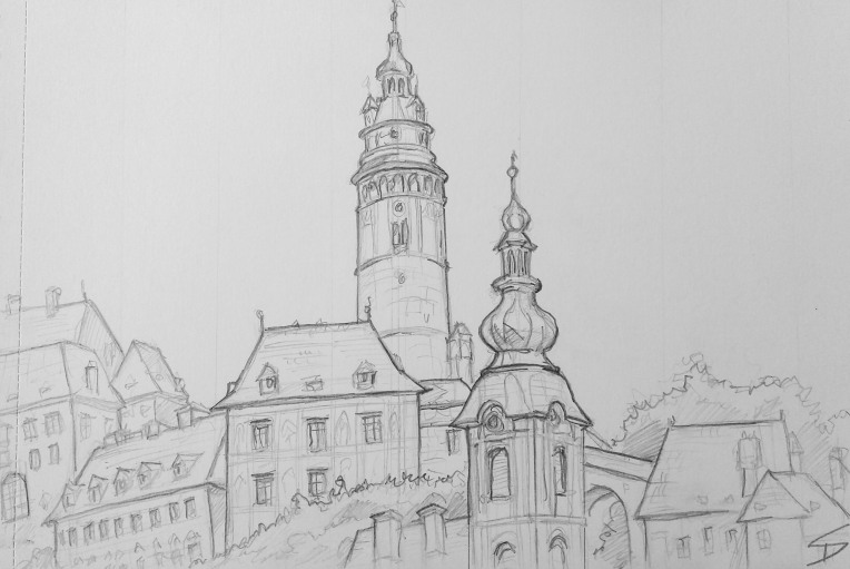 Urban Art - Český Krumlov, Czech Republic. 'Český Krumlov centre.' Final sketch from Cesky Krumlov.  Spotted this view on the way to the bus stop. Had to be quick, as buses don't wait, even for us artists. sketchbookexplorer.com @davidasutton @sketchbookexplorer Facebook.com/davidanthonysutton #drawing #sketch #ceskykrumlov #travel #travelblog #ceskykrumlovcastle