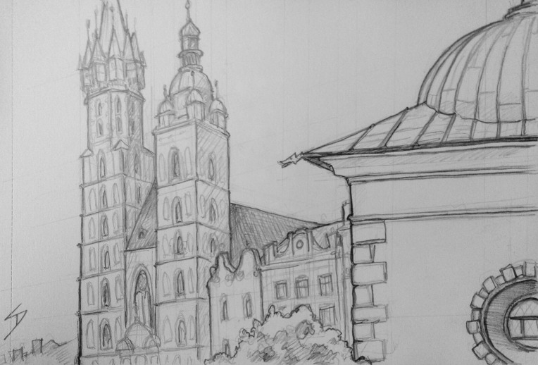 Urban Art - Krakow, Poland. 'Old Town Square.' View from the Slodki Wentzl cafe. You can see the 14th century St. Mary's Basilica on the left of the sketch. The main square in the old town was built, after Krakow was destroyed in the Mongol invasion of 1241. sketchbookexplorer.com @davidasutton @sketchbookexplorer Facebook.com/davidanthonysutton #drawing #sketch #krakow #travel #travelblog #krakowmainsquare