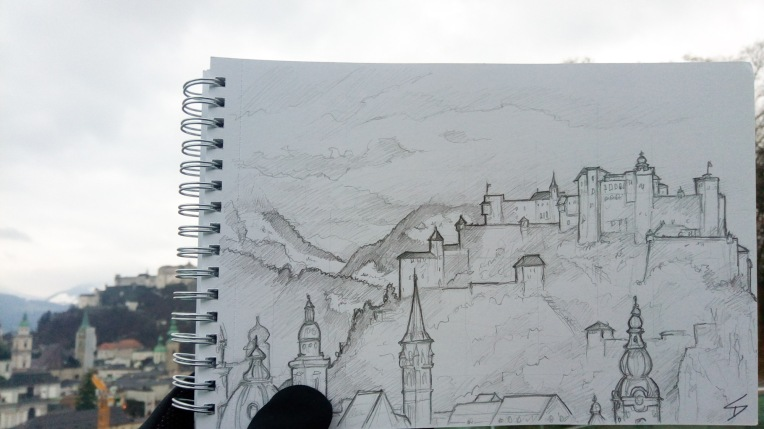 Urban Art photo - Salzburg, Austria. 'Mönchsberg.' View over Salzburg's rooftops of Hohensalzburg Fortress. Work began on the castle in 1077, it was later increased in size due to the perceived threat of the Turks. sketchbookexplorer.com @davidasutton @sketchbookexplorer Facebook.com/davidanthonysutton #drawing #sketch #salzburg #travel #travelblog #hohensalzburg